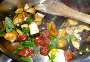 stirring the ingredients