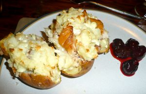 mackerel and feta stuffed potatoes